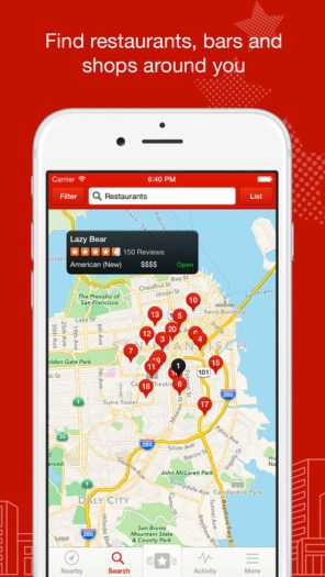 Yelp: Find nearby restaurants