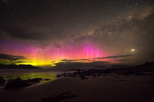 Southern Lights over Cloudy Bay, Tasmania