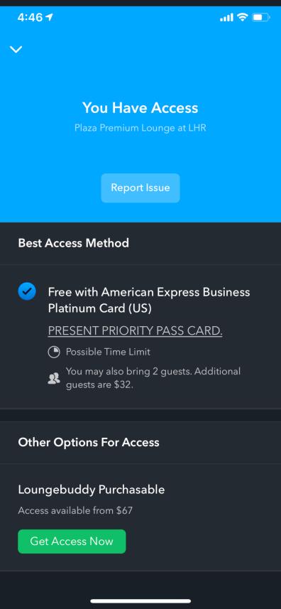 LoungeBuddy Access Details Screenshot