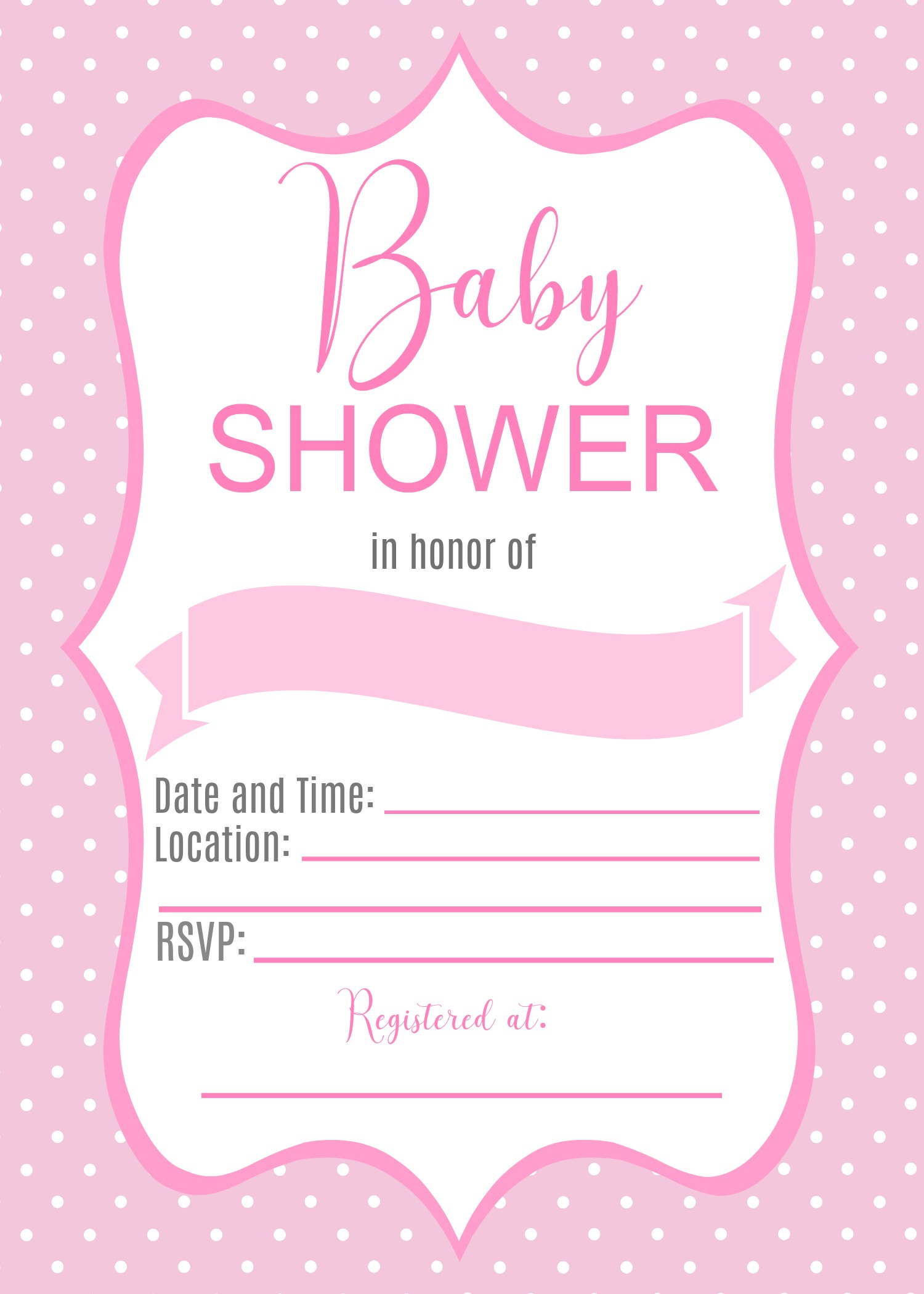 Baby Girl Shower Invitation, Fill-in - Thrifty Printables