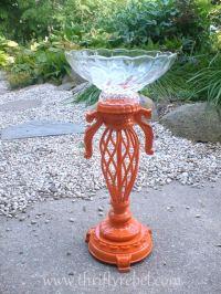 DIY Lamp into Orange Birdbath - Thrifty Rebel Vintage
