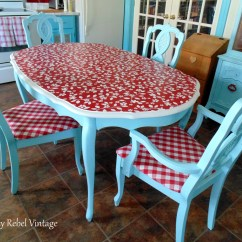 Red Kitchen Table Set Hand Towels For The Repurposed Tablecloth Chairs Makeover Thrifty