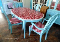 Repurposed Tablecloth Kitchen Chairs Makeover - Thrifty ...