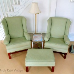 Wing Chairs For Living Room Big Lots Tub Chair Makeover Update Thrifty Rebel Vintage Pair Of Thrifted Green And Ottoman Set