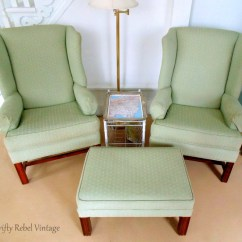 Wing Chairs For Living Room Wedding Chair Covers Eastbourne Makeover Update Thrifty Rebel Vintage Set Of 2 Thrifted Green And Ottoman