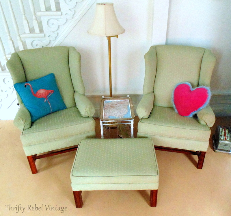 wing chairs for living room office chair you can sleep in makeover update thrifty rebel vintage