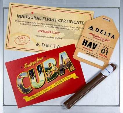 Delta's Havana inaugural gift package