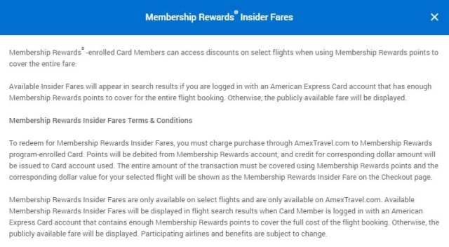 American Express Insider Fares
