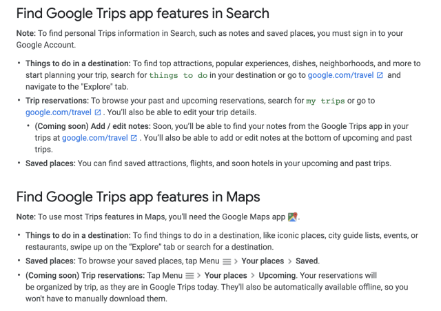 Google Trips Ending Support