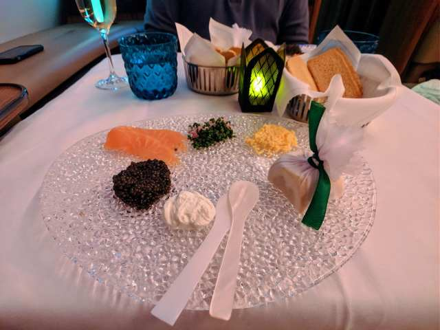 qatar airways first class caviar