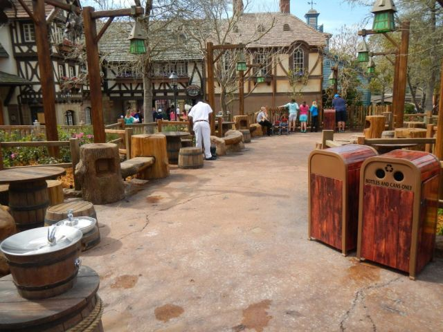 This area is filled with tables and chairs and something really neat, charging stations for cell phones!