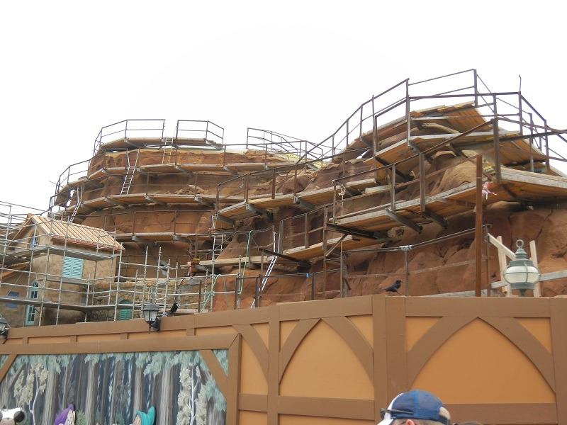 Lots of paint work is going on around the back side of the mountain.  No more cement color!