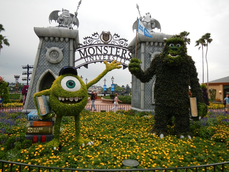 A huge topiary display for the new film Monsters University
