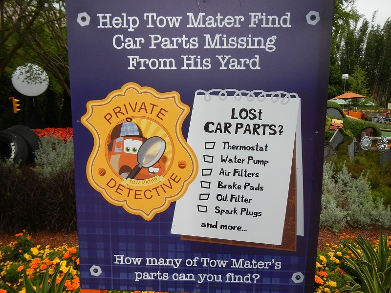 There is even a game the kids can play in the area that turn them into a detective with Mater