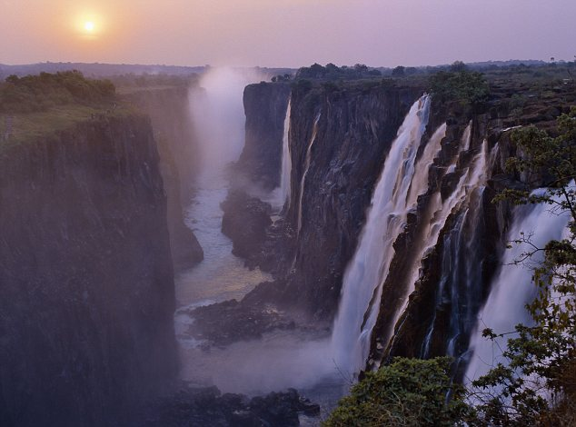 Sunset over the magnificent Victoria Falls