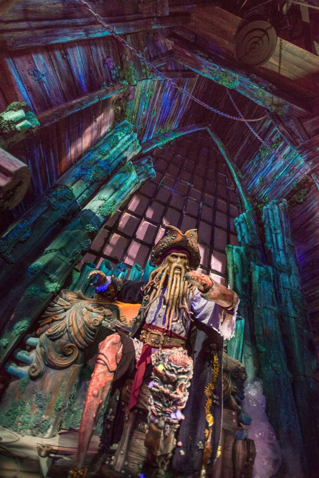 Guests will experience an all-new story with their favorite pirate characters, such as Davy Jones, aboard Pirates of the Caribbean: Battle for the Sunken Treasure.