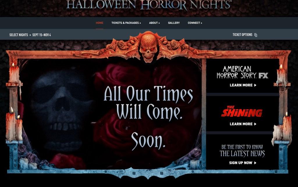 Halloween Horror Nights 27 website