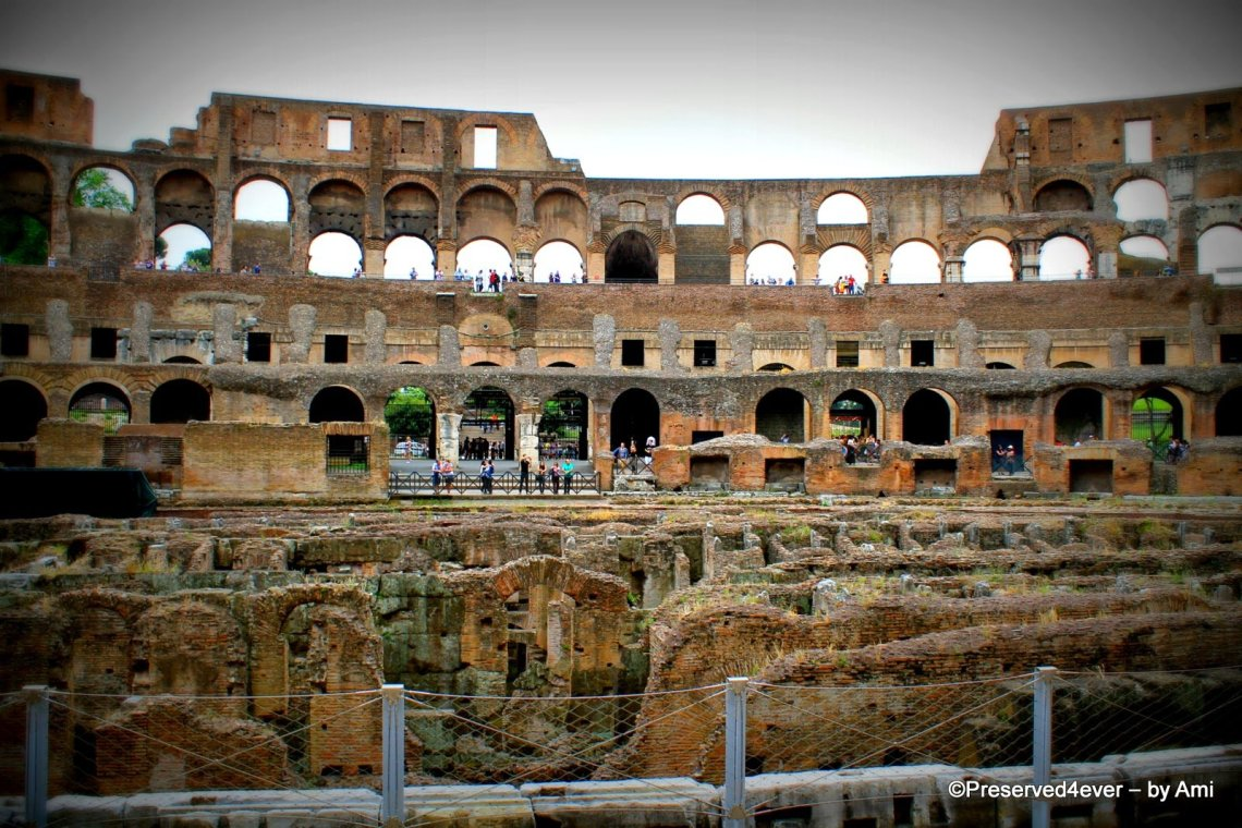 View as you enter the Colosseum. Check out the maze and the three levels