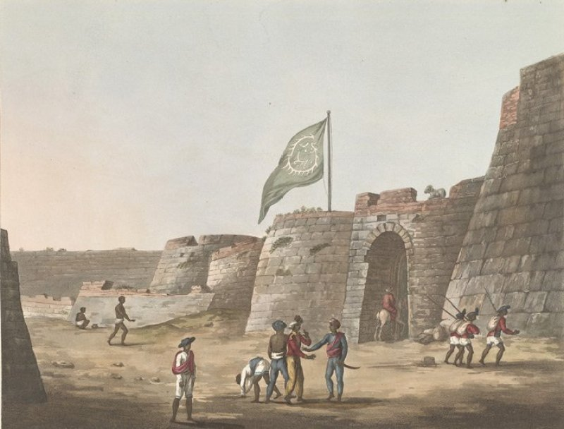 Bangalore Fort, North Entrance. Sketch and Image Credits: By Hunter, James (d. 1792 [Public domain], via Wikimedia Commons