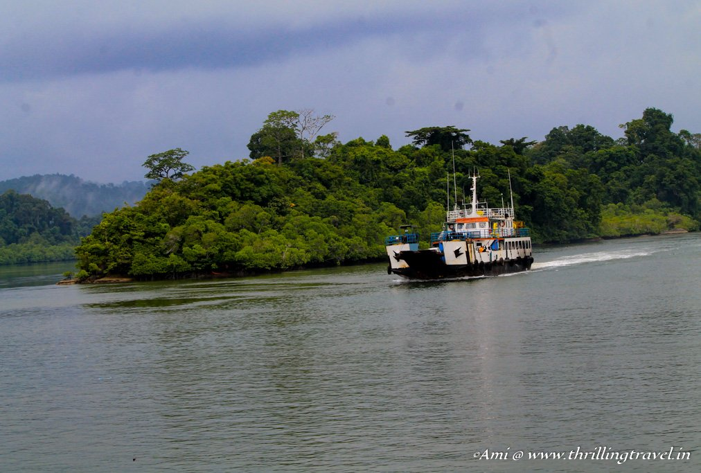 The ferry that allows you to cross from Nilambur Jetty to Baratang Island, Andamans