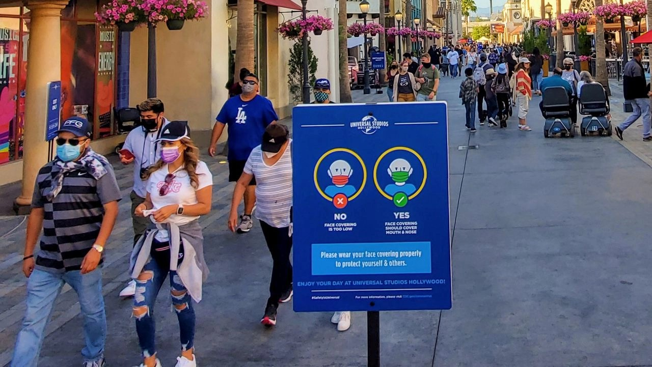 Mask up for outdoor mega-events but not LA theme parks
