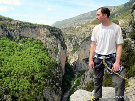 Nearing top of Or Sujet (6c, 5.11 a/b) - Verdon Gorge, France