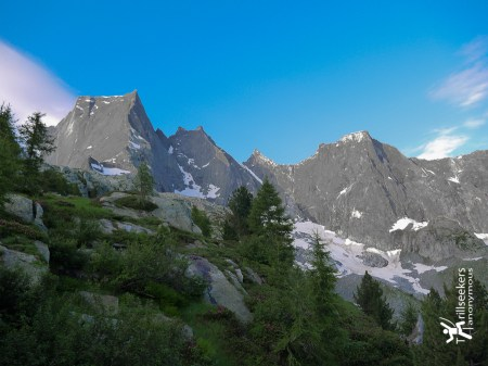 View of Piz Badile (left most mountain) from trail leaving Sasc Fura Hütte.