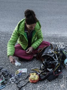 Sorting gear before climbing 'La Demande' in Gorges du Verdon, France.  GoMacro bars are now an essential item in my rack.