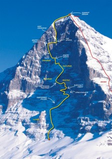 The Heckmair route and it's named sections.  Photo courtesy of trekmountain.com.