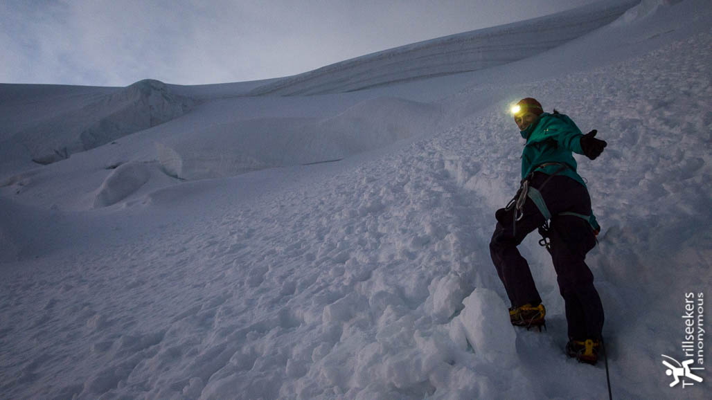 Early bird catches the Mont Blanc du Tacul, just a few seracs and crevasses to navigate - Mont Blanc via Trois Monts.