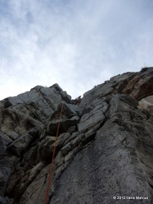 Looking to the top out on Space Boyz (5.10d, 11 pitches) - El Potrero Chico
