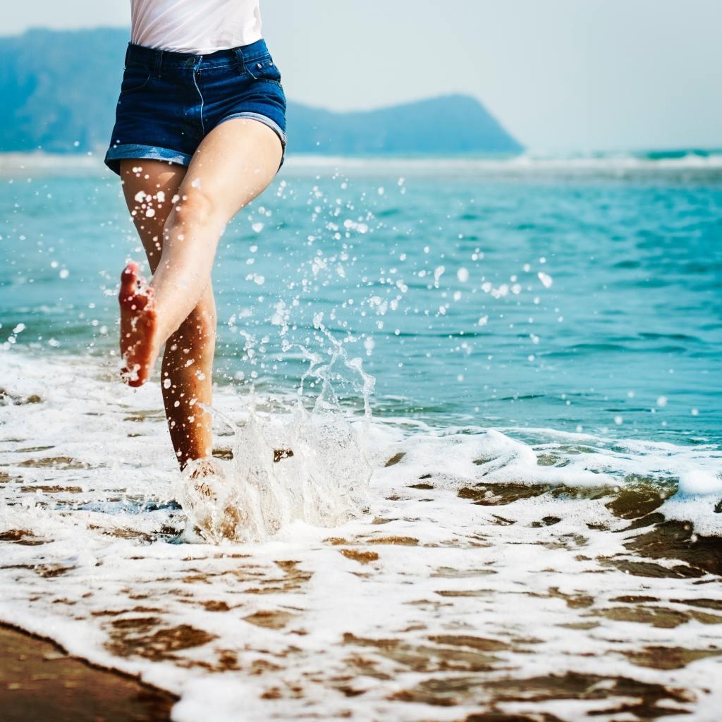 walking in the sea