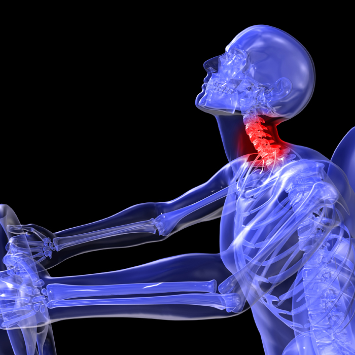 Digital image of a person hurting their neck from a car accident.