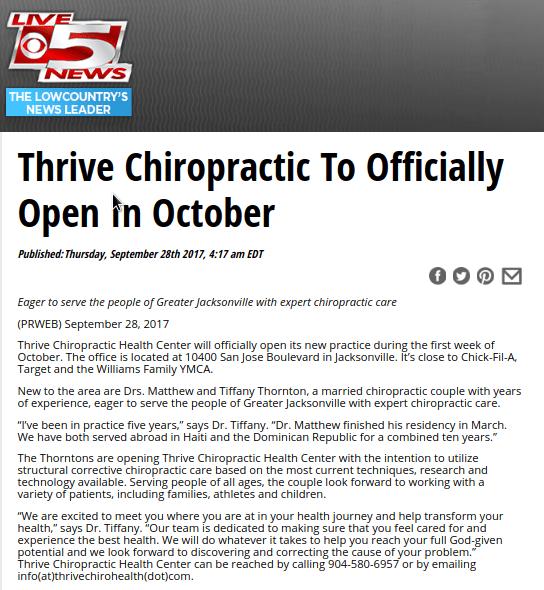 chiropractor san jose blvd jacksonville fl | Thrive Chiro Health