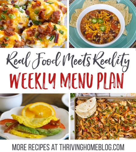 Real Food Menu Plan for February 14-20: Easy and delicious meal ideas that the whole family will love. Posted every Friday at Thriving Home.
