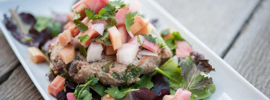 Paleo Turkey Burgers with Quick Pickled Rhubarb