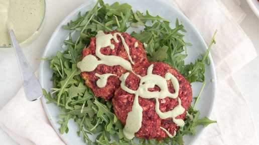 Beet Cakes with Mint Cashew Cream