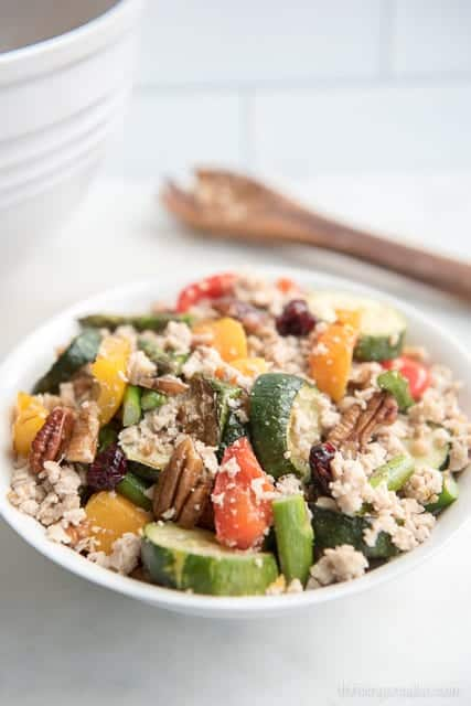 "Roasted Vegetable Grain-free ""Couscous"" - a Paleo and gluten-free main dish recipe for a nutritious meal that resembles those great grain salads you take on picnics"