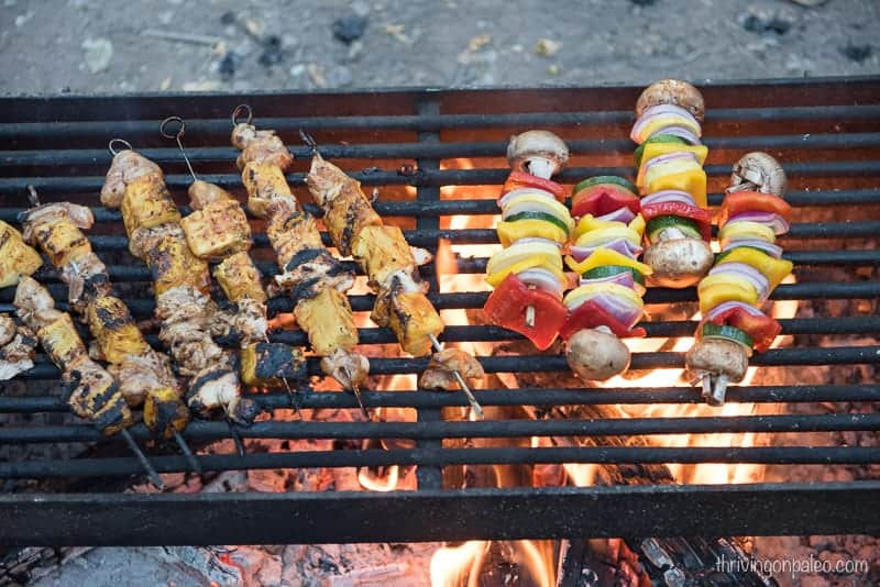 Paleo BBQ Chicken and Pineapple Skewers and Veggie Skewers on our camping trip
