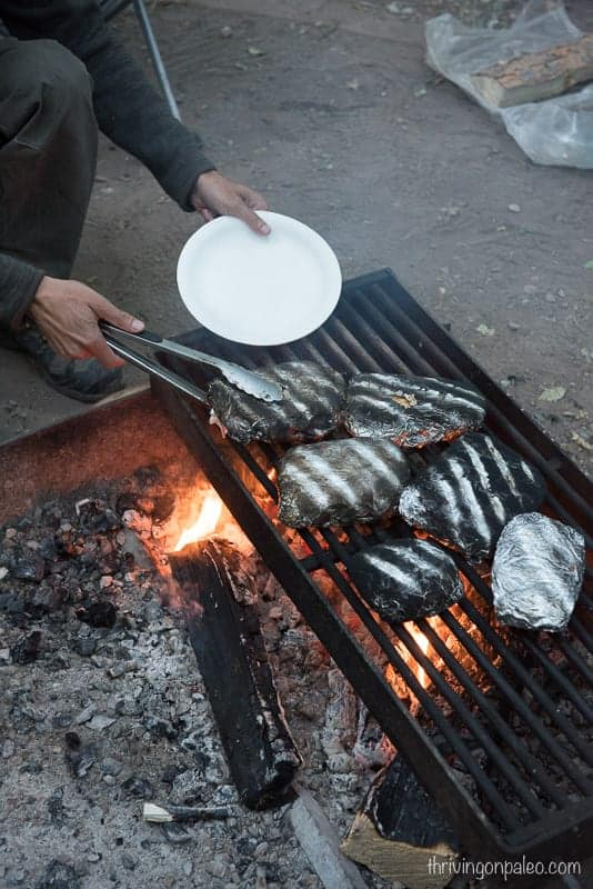 Paleo Ground Beef Hobo foil packets over the fire while camping (gluten-free)