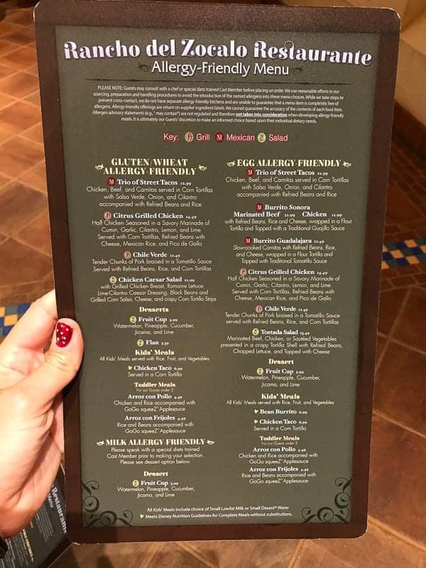 Eating gluten-free at Disneyland - Allergy Menu for Rancho del Zocalo