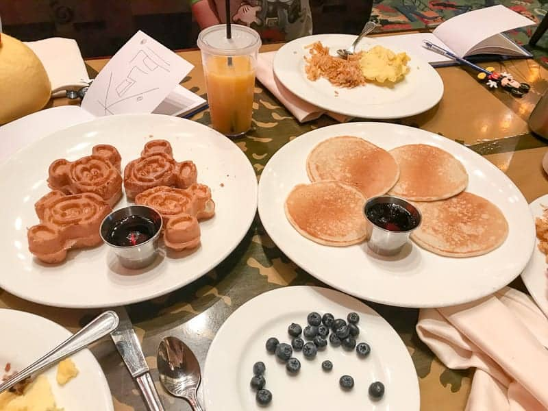 Eating gluten-free at Disneyland - Storytellers Cafe in the Grand Californian, gluten-free mickey waffles and pancakes