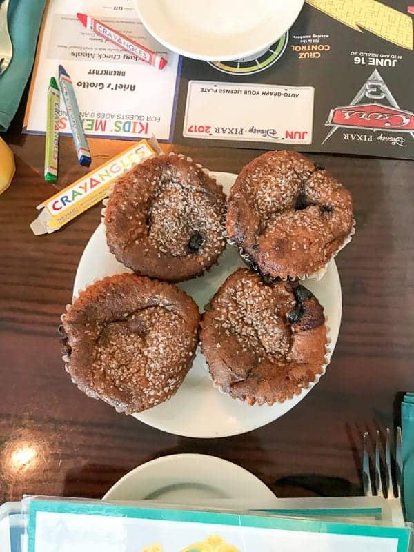 Eating gluten-free at Disneyland - gluten-free blueberry muffins at Ariel's Grotto