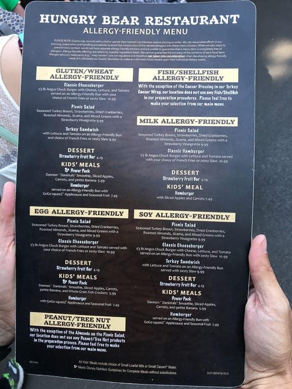 Eating gluten-free at Disneyland - Allergy menu for Hungry Bear Restaurant