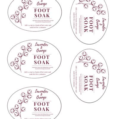 Lavender and Orange Foot Soak labels