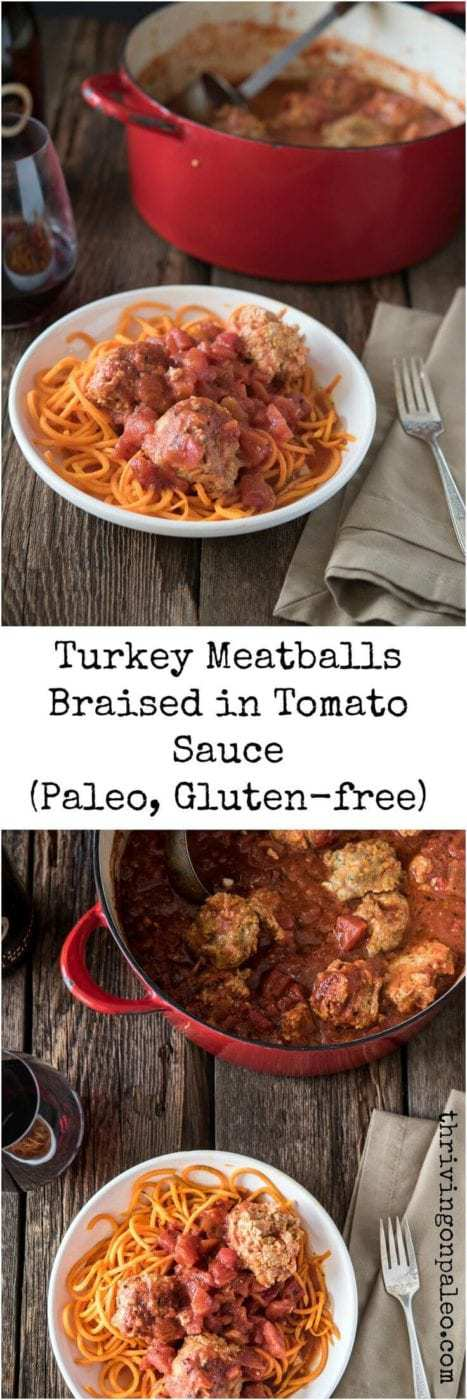 paleo turkey meatballs braised in tomato sauce