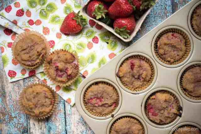 Roasted Strawberry Muffins - a Paleo, gluten-free, dairy-free, and nut-free snack recipe