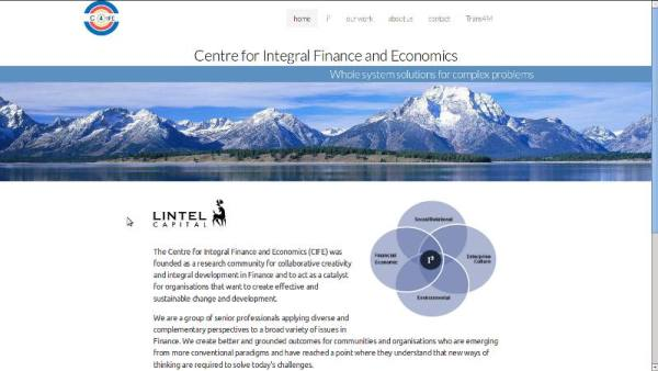 Screenshot Home page Centre For Integral Finance and Economics