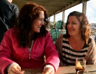 In March there always seems to be a few days of sunshine to remind us that the world won't always be wet and dark. I had a day out with some best friends. Here's me and H at The Watering Hole, a bar on Perranporth Beach, laughing. We like laughing. And beaches.