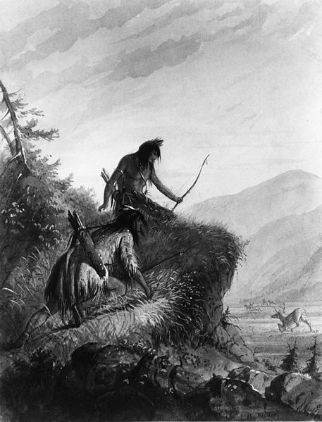 Hunting Elk By Alfred Jacob Miller. Painting of a Pair of Snake Indian Hunters Successfully Bringing Down a Prize Elk Bull with a bow & Arrow.